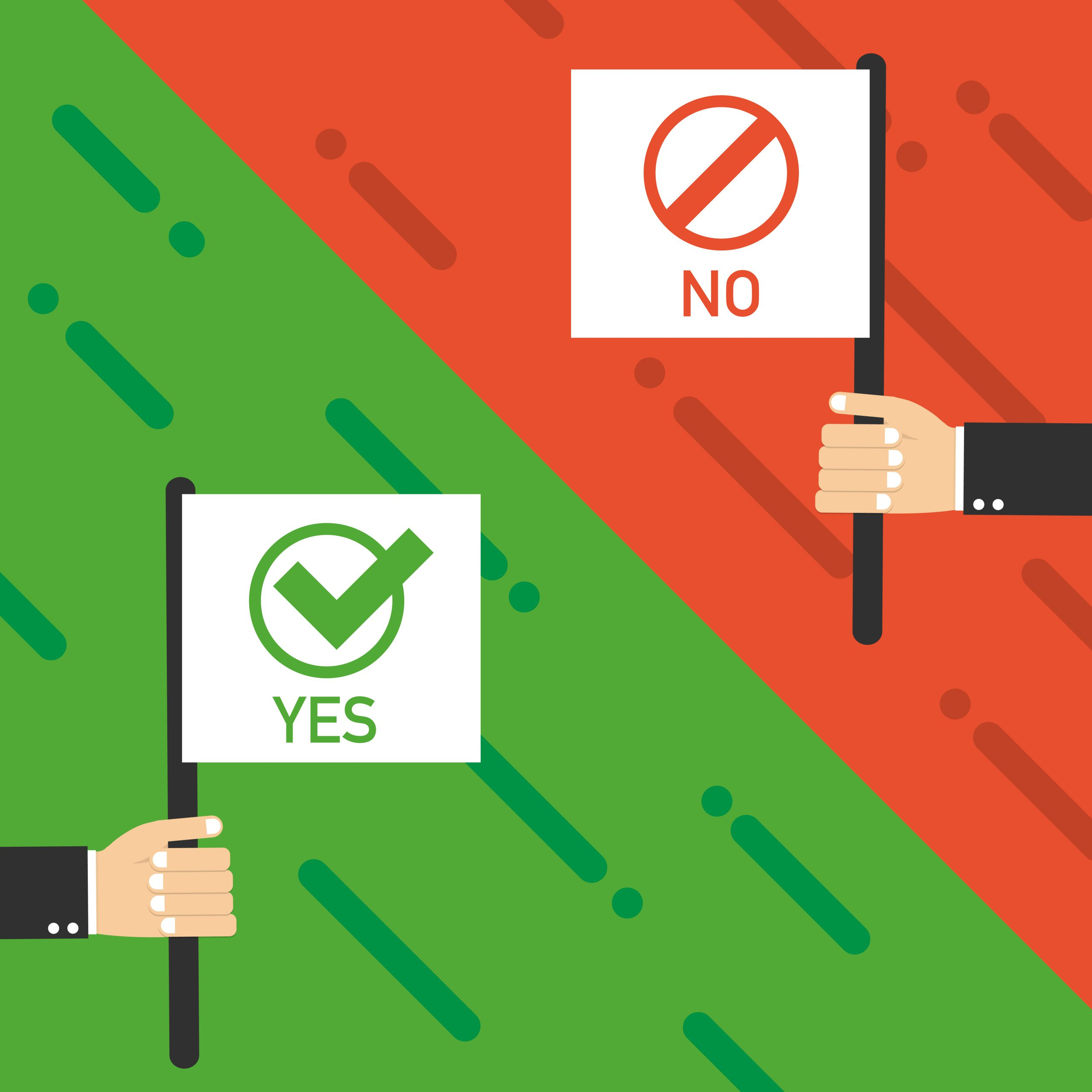 Flags Yes and No. Vector - choose the right school management software - illustration