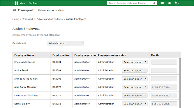 Drivers-and-Attendants-Assign-Employees - school management system