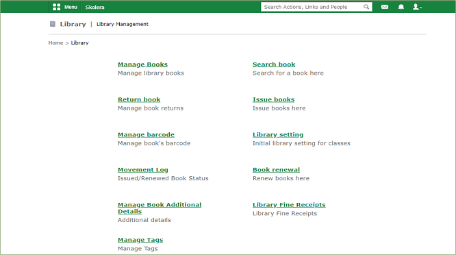 Library Management in skolera - school information management system
