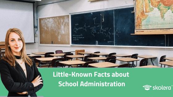 school principal in a classroom - with desks - skolera school administration system